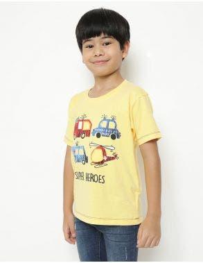 Little M T-Shirt Transportasi Aplikasi Anak Laki-Laki