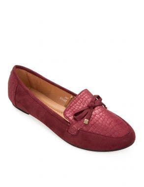 Details Moccasin Shoes Ribbon Textured